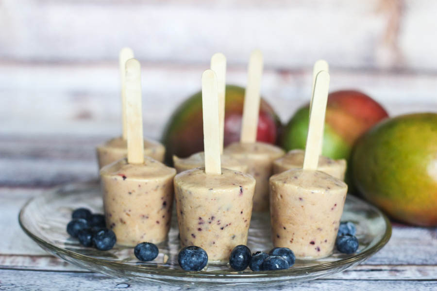 Blueberry mango popsicles