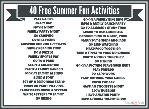 40 Free Summer Activities www.tastefullyfrugal.org