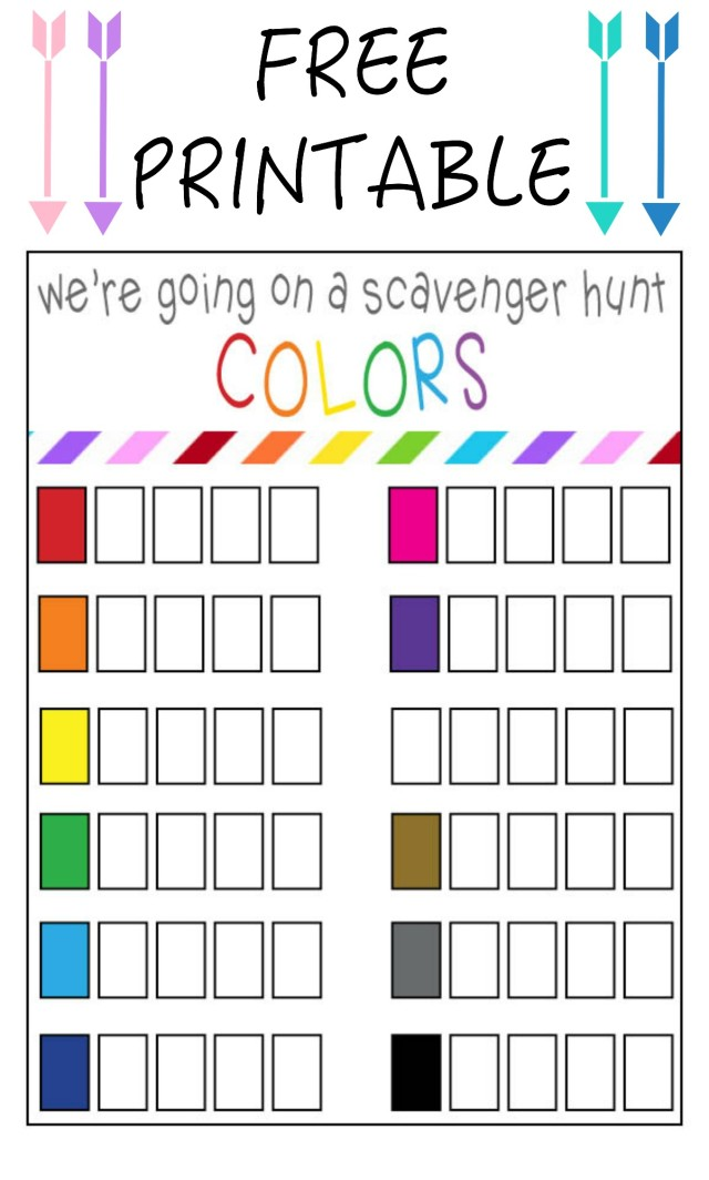 FREE Printable Scavenger Hunt for Colors