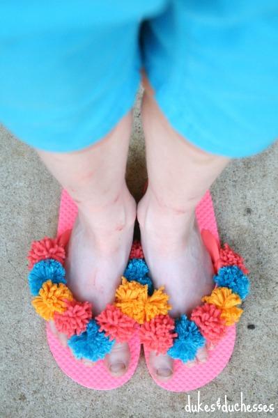 fluffy pom pom flip flops