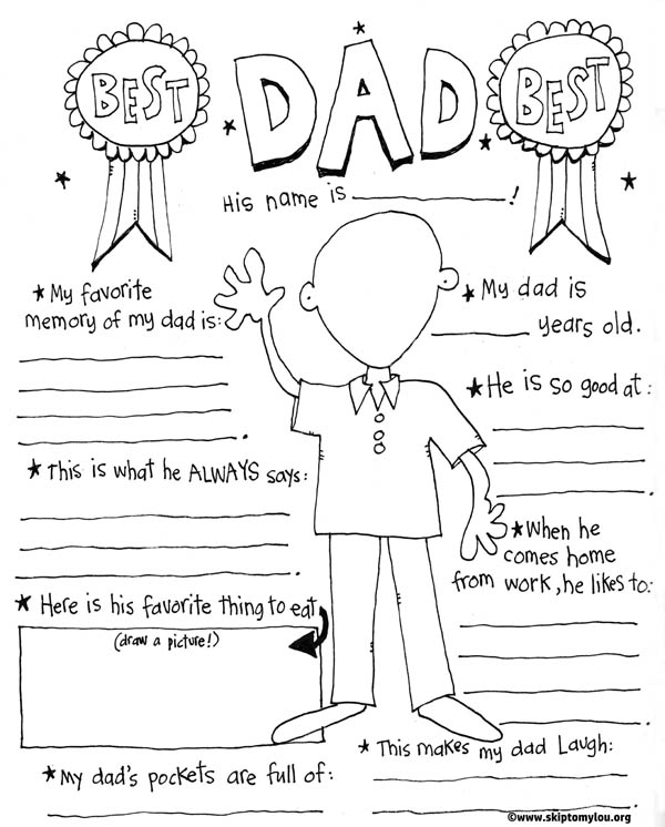 free printable fathers day coloring page - Dad Coloring Pages