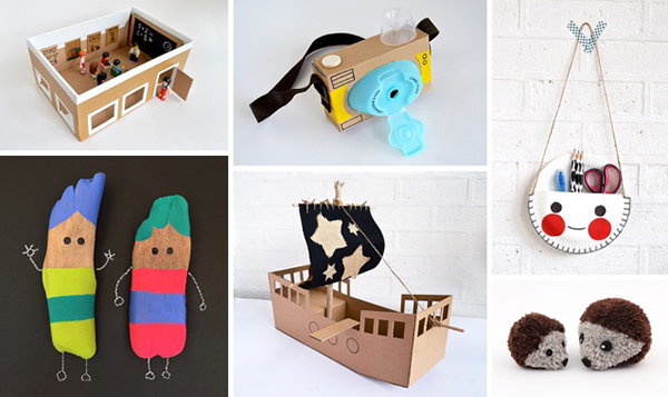 crafts for kids, recycled crafts, pom poms, cardboard pirate ship, nature crafts, stick dolls, shoebox crafts, pretend pla