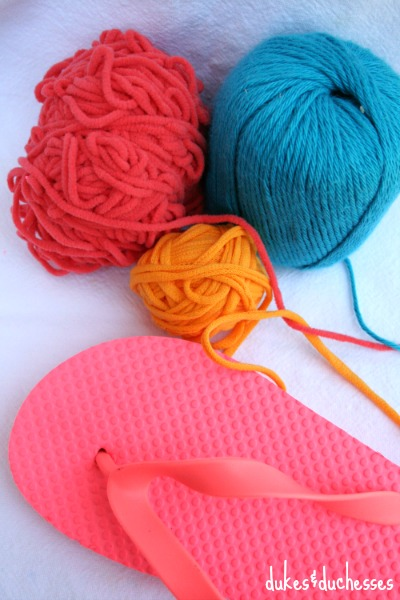 supplies for pom pom flip flops