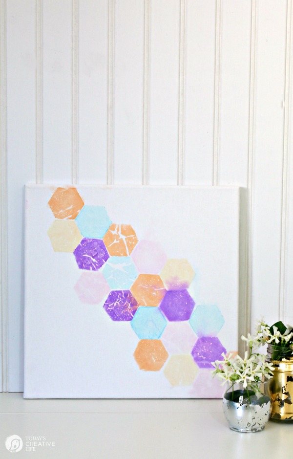 Tissue Paper Color Transfer Wall Art on Canvas | Easy DIY Craft idea | Find more creative ideas on TodaysCreativeLife.com