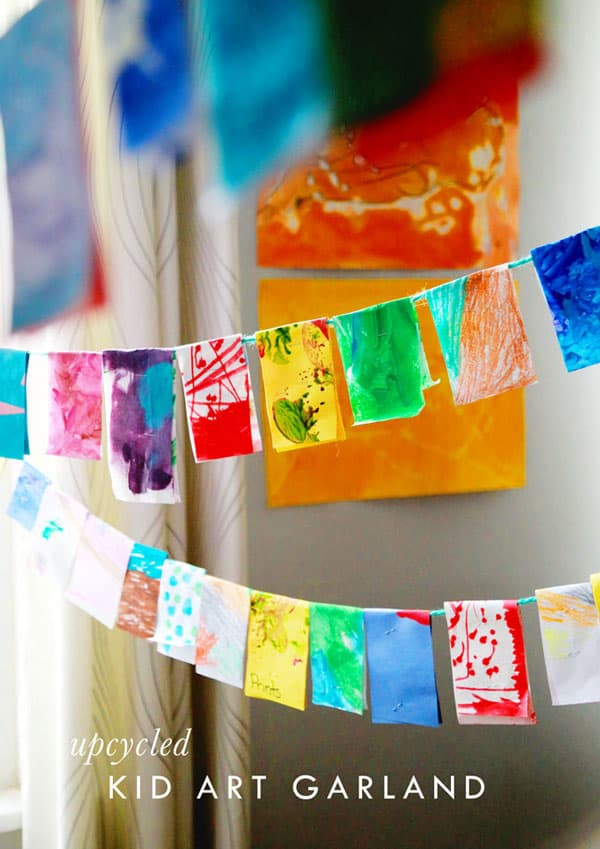 upcycled kid art garland