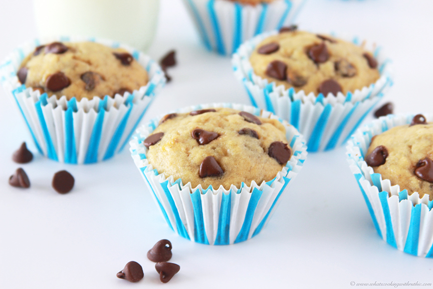 Banana Chocolate Chip Muffins by www.cookingwithruthie.com