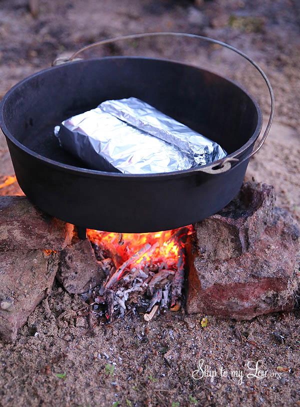 ham buns on the campfire