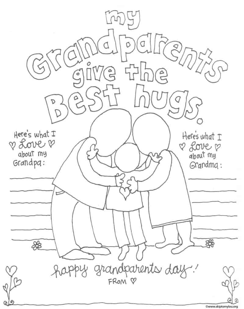 Grandparent Coloring Pages for Grandparents Day | Skip To My Lou