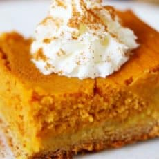 pumpkin gooey cake on white plate