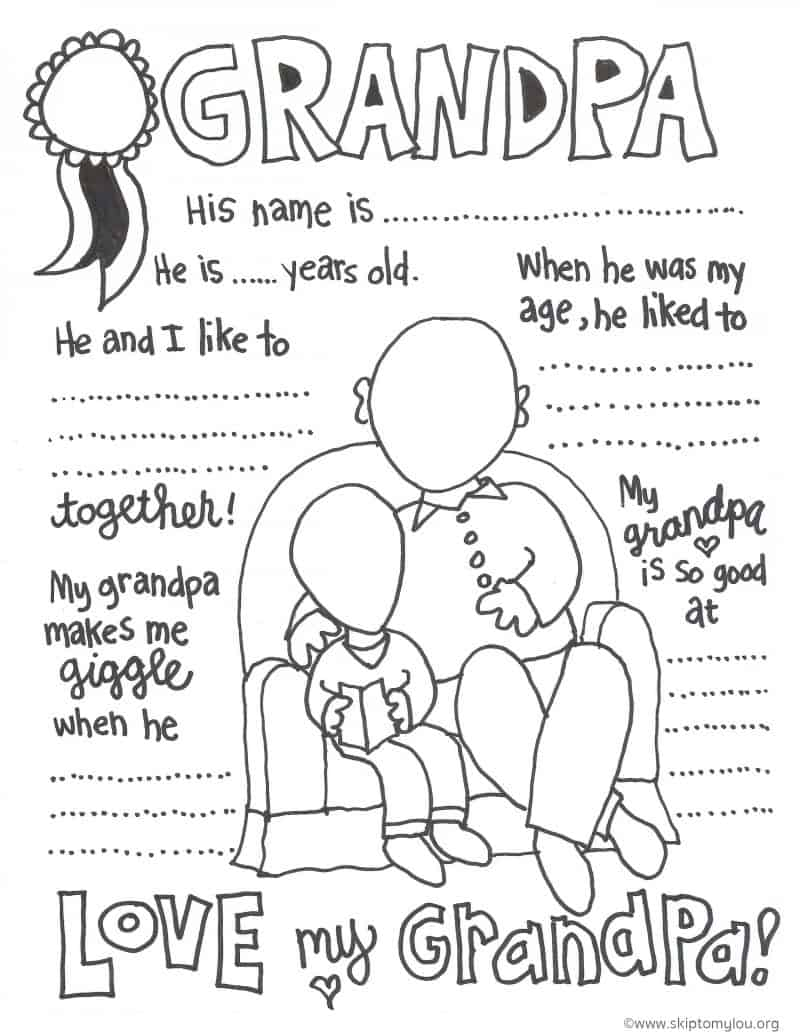 grandfather walking with his grandchildren coloring pages color