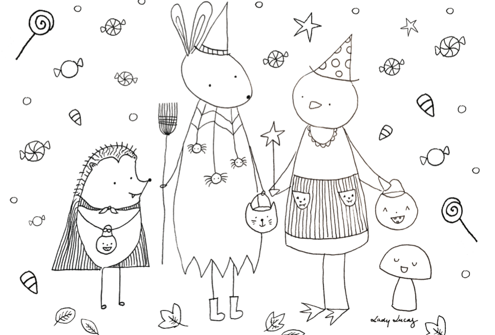 Cute Halloween Coloring Pages to print and color Skip