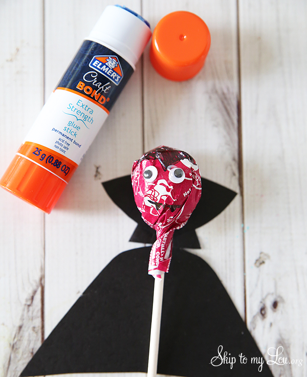 tootsie pop dracula cape, glue stick