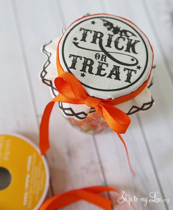 trick or treat jar covers add ribbon