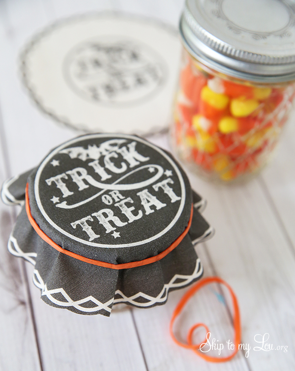 trick or treat jar covers use rubber band