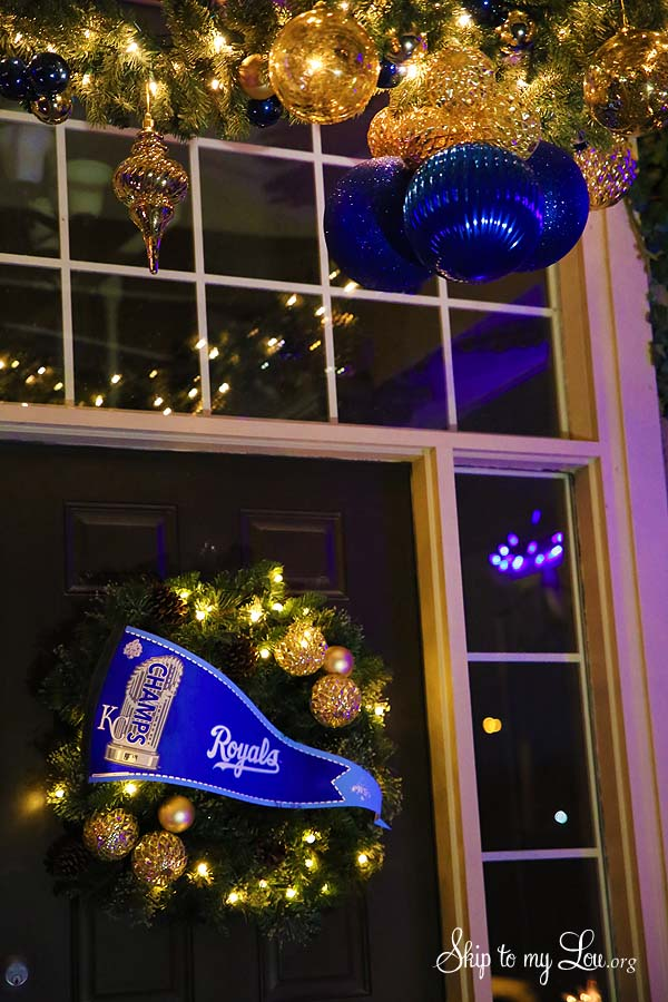 Royals theme holiday front porch