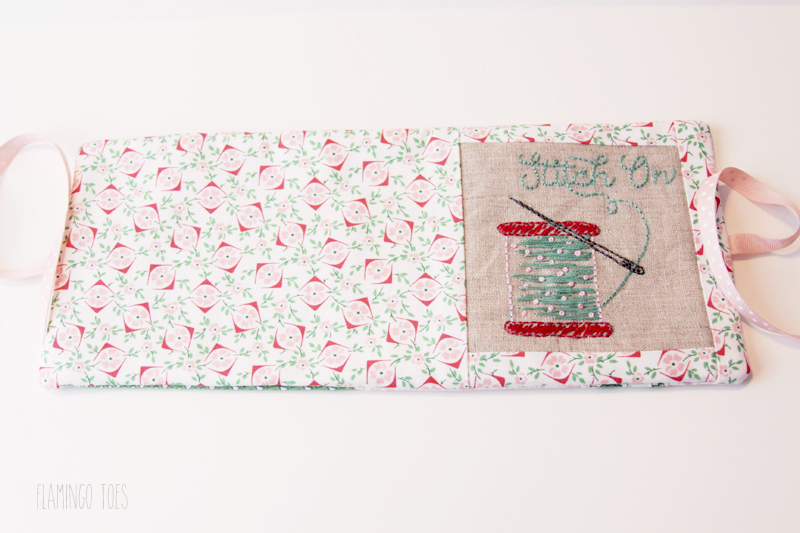 Sewing front and back of needle book together