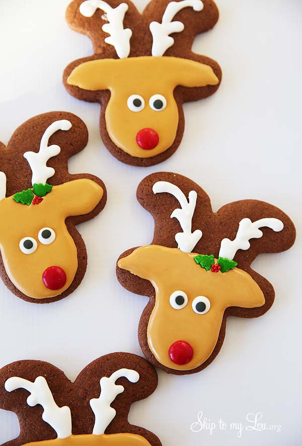 chocolate reindeer sugar cookies