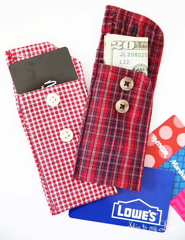 recycled shirt cuff pouches