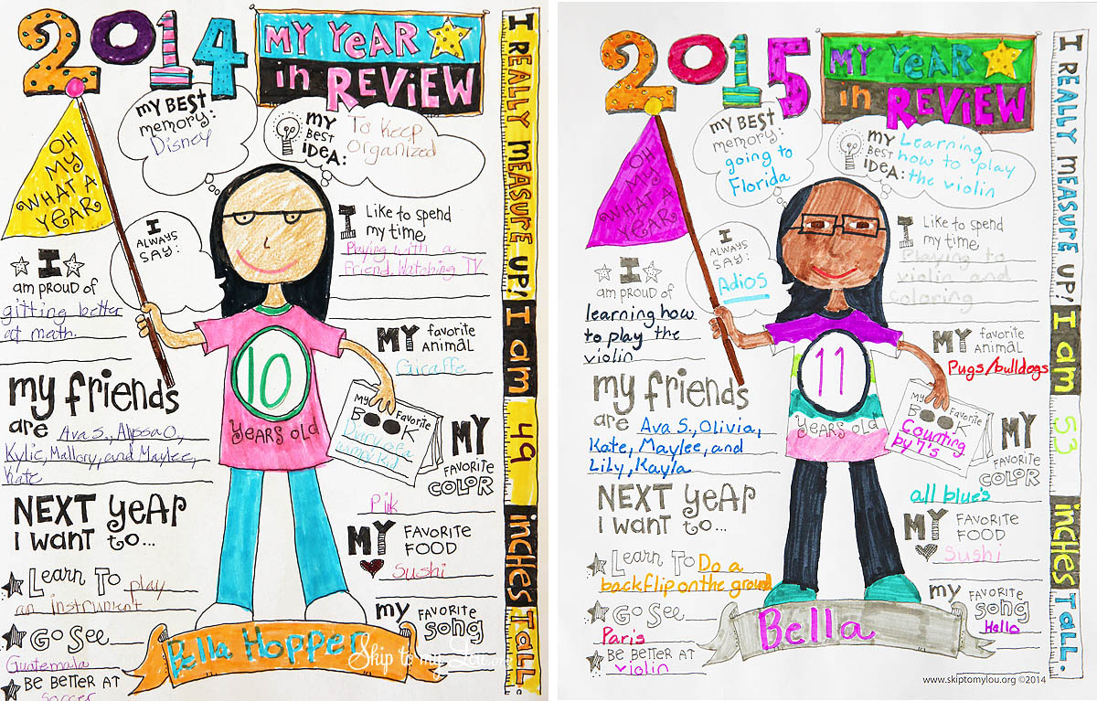 kids free year in review printable 2015