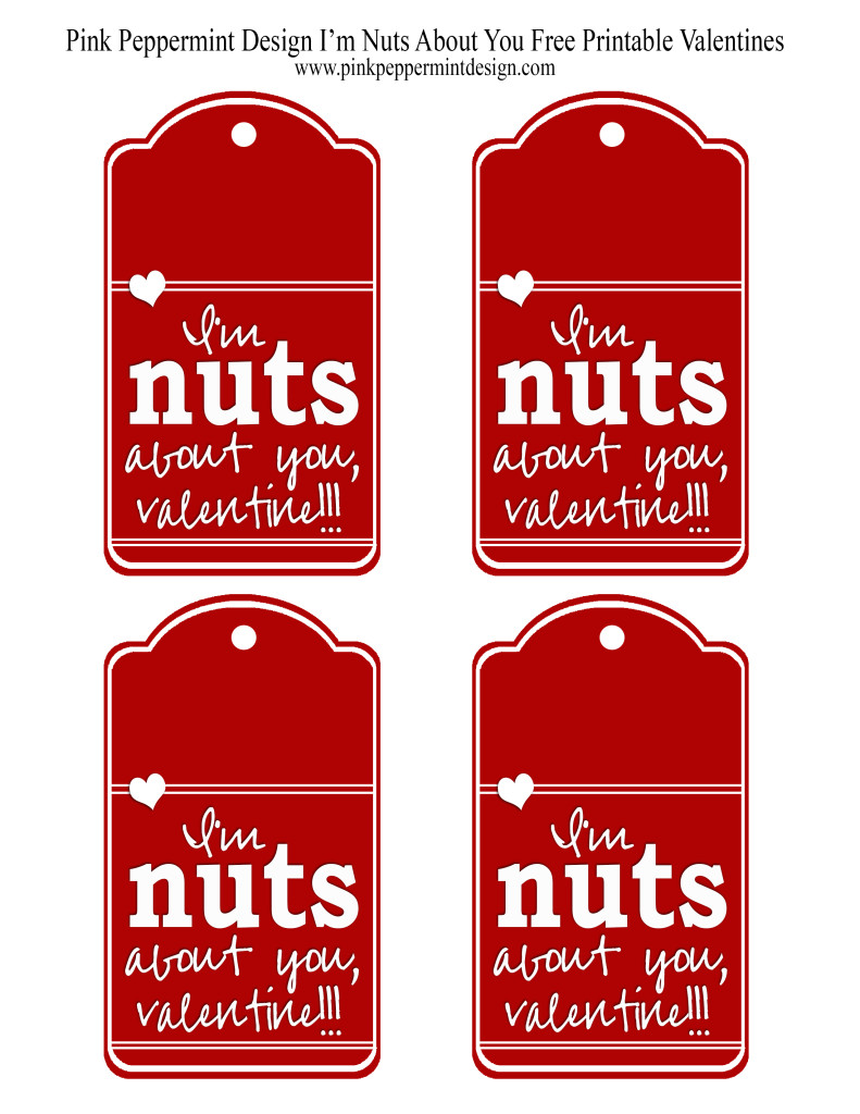 I'm Nuts About You Free Printable Valentine