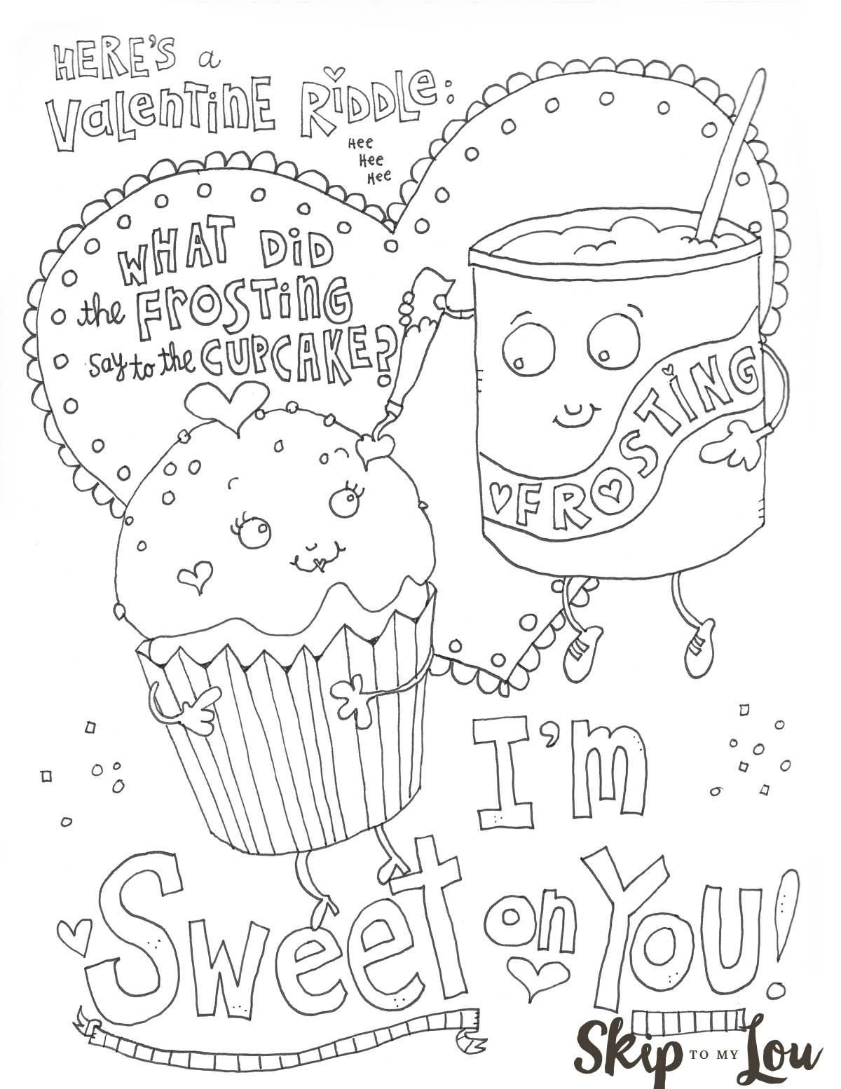 Sweet on you Valentine Coloring Sheet