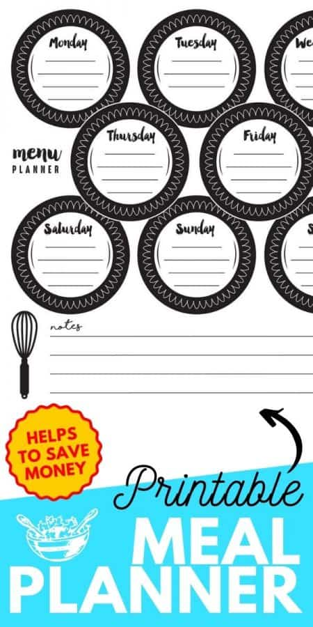 printable meal planner PIN