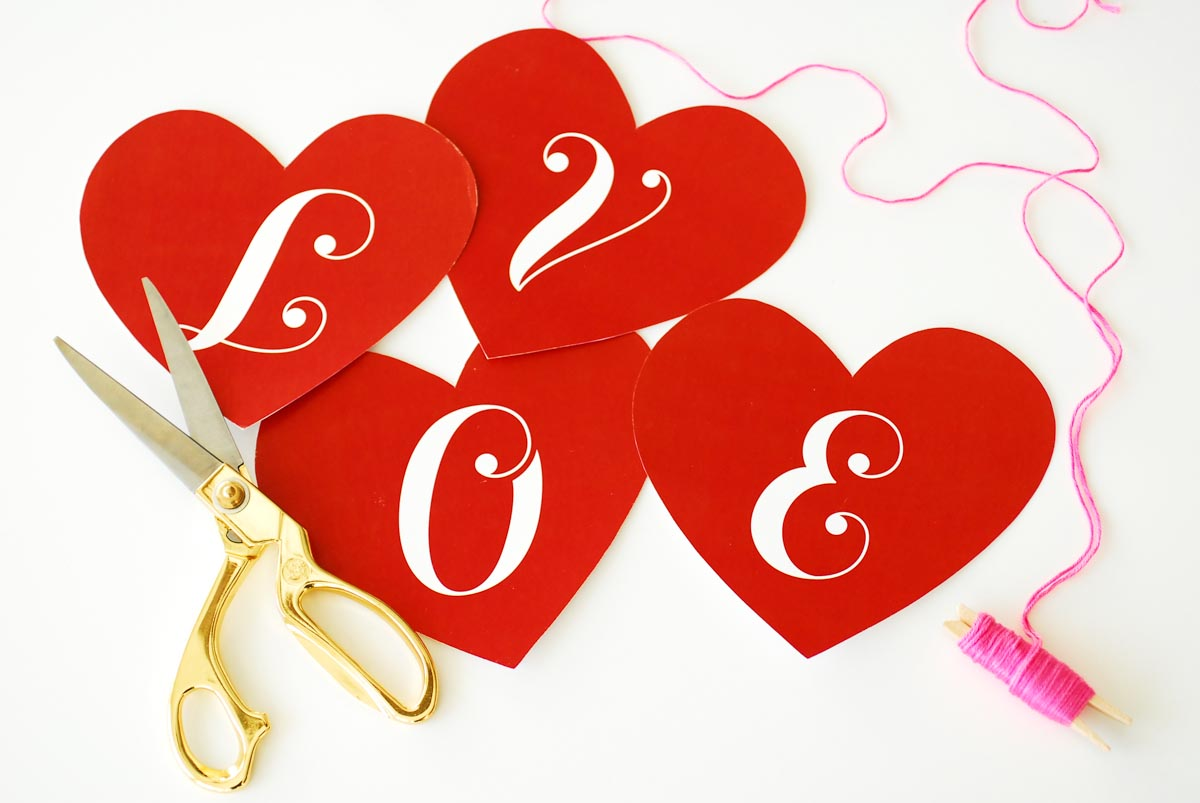 Cut out your hearts to create a Valentine's Day love banner