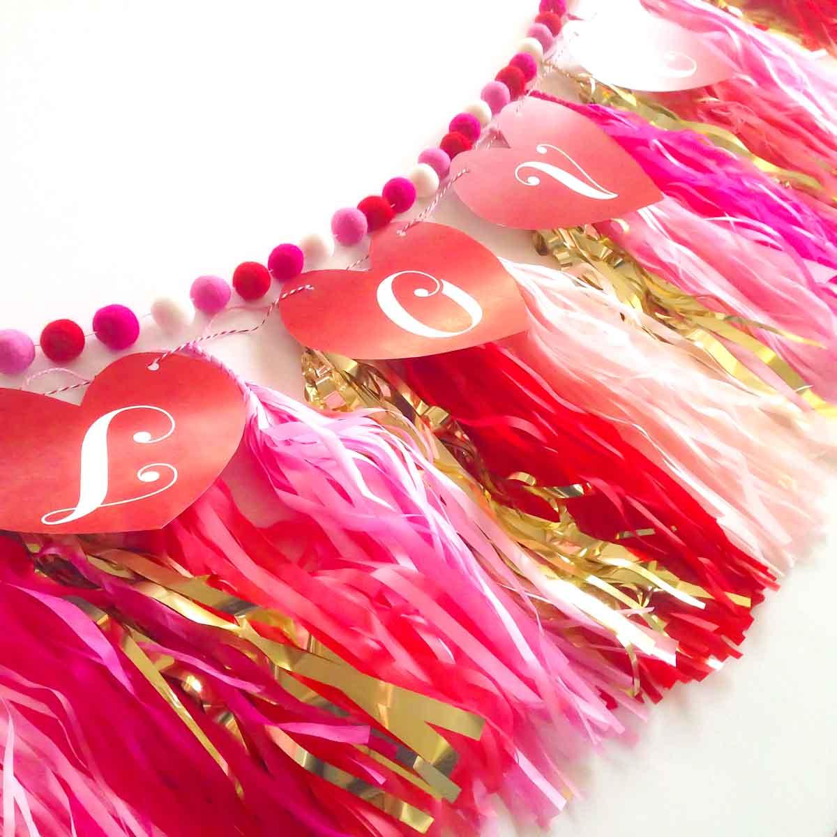 Valentine's Day heart banner + tissue tassels + felt balls