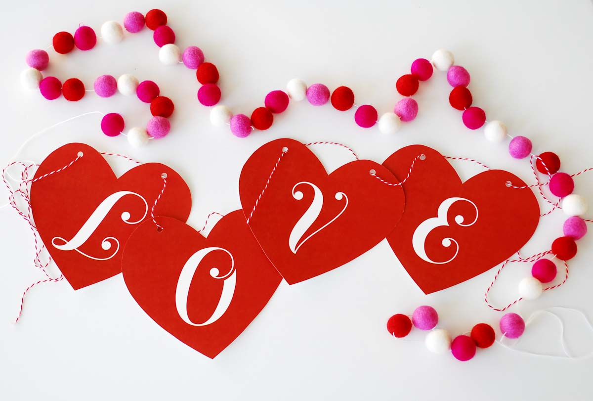 Valentine's Day LOVE heart banner - quick and easy decor