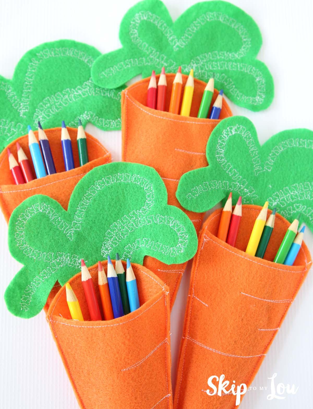 Felt Carrot Pencil Holders