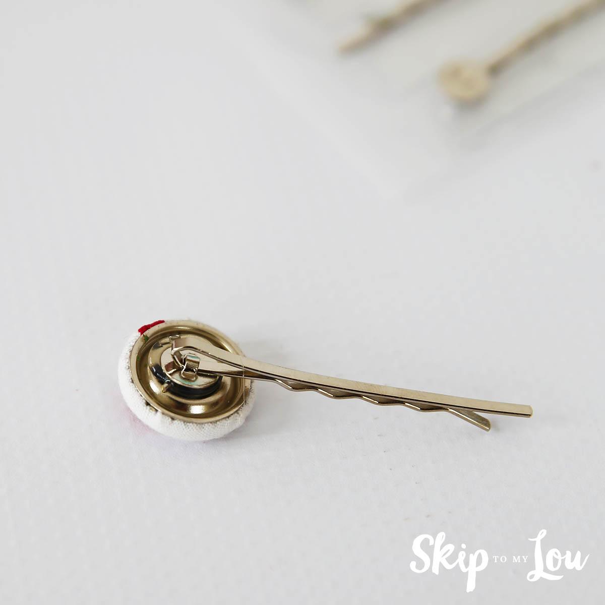 covered button hair clip glue on clip
