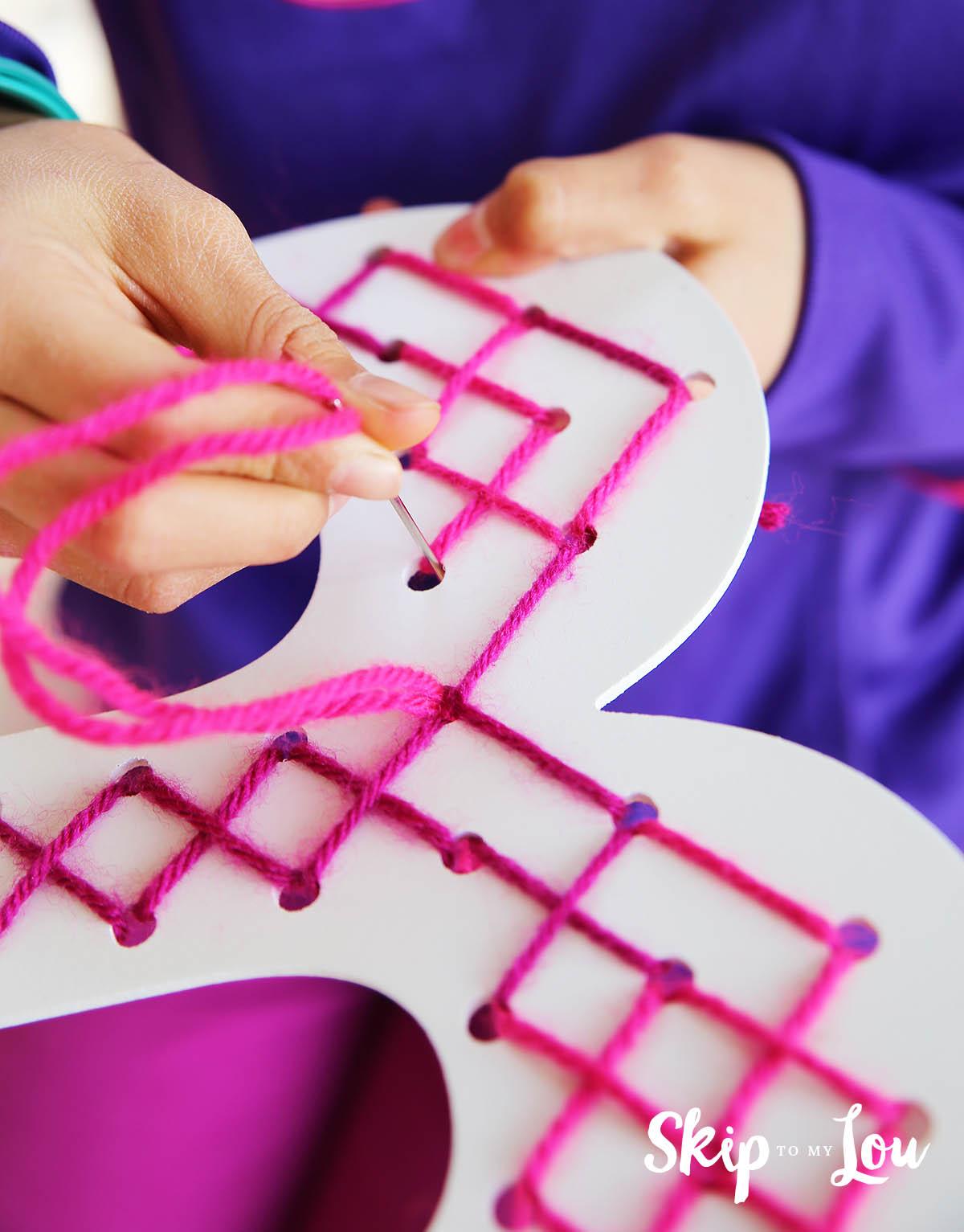 cross stich letter kids activity