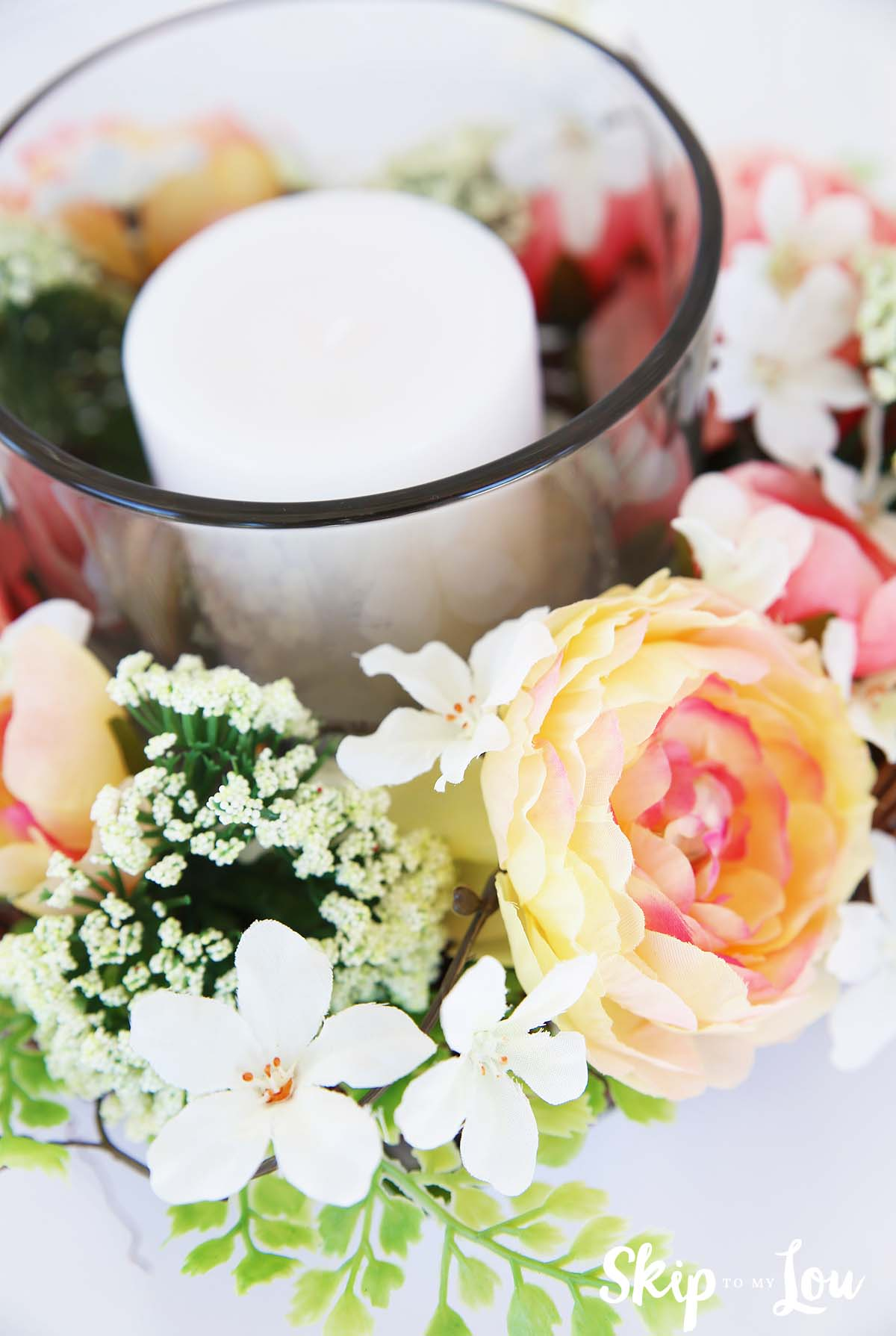floral centerpiece with candle how to Michaels