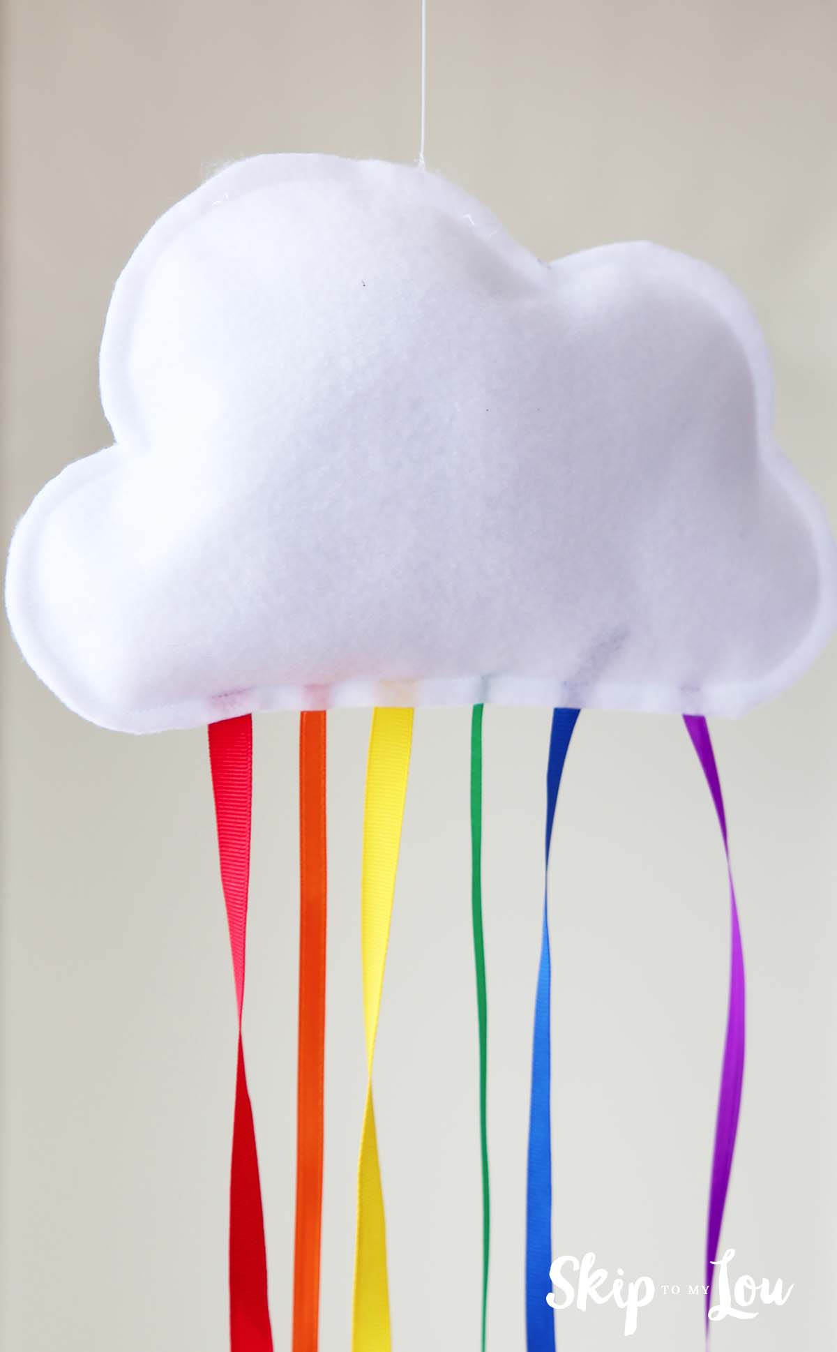 hanging cloud with rainbow ribbon