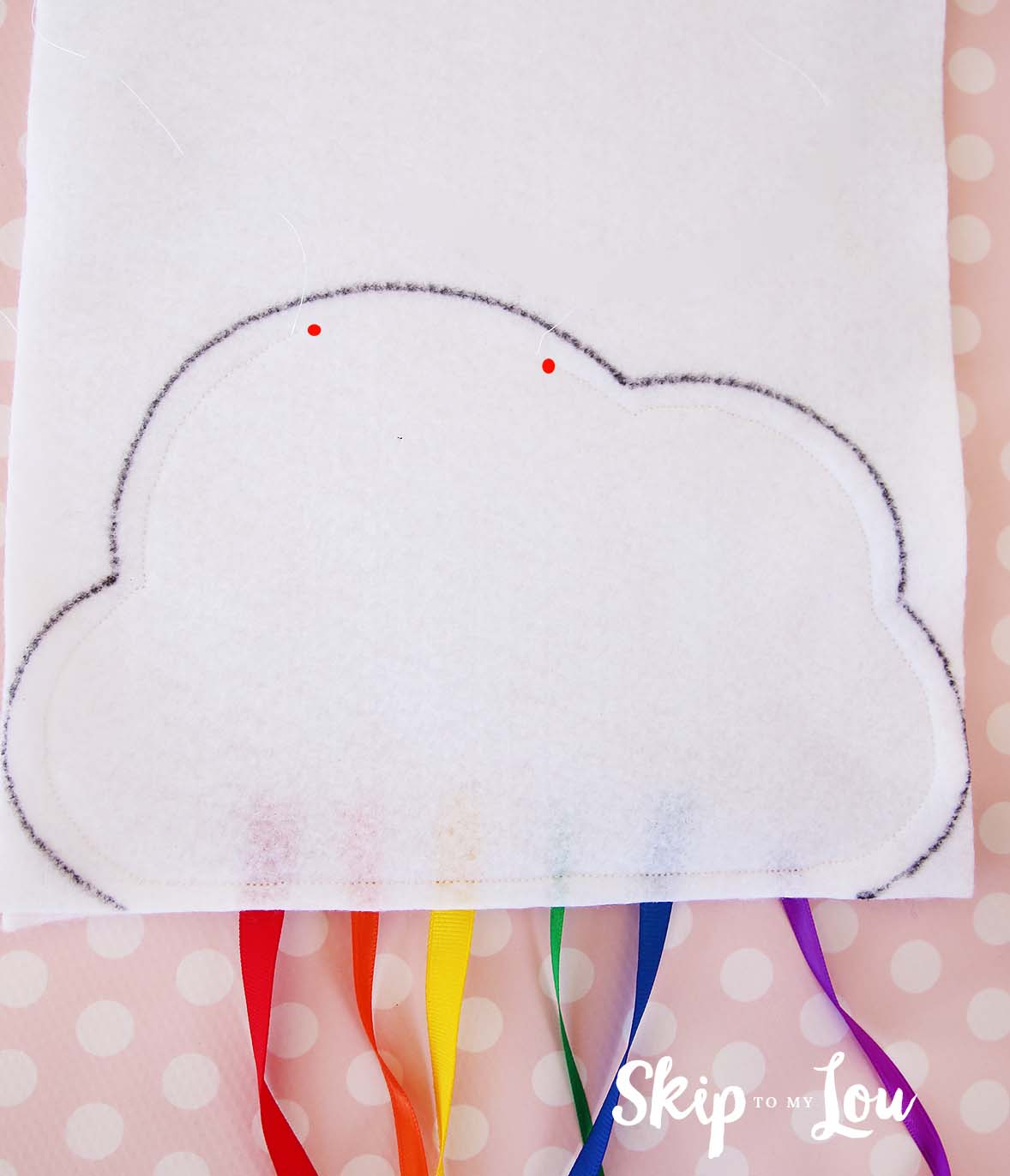 rainbow cloud mobile sew leave opening