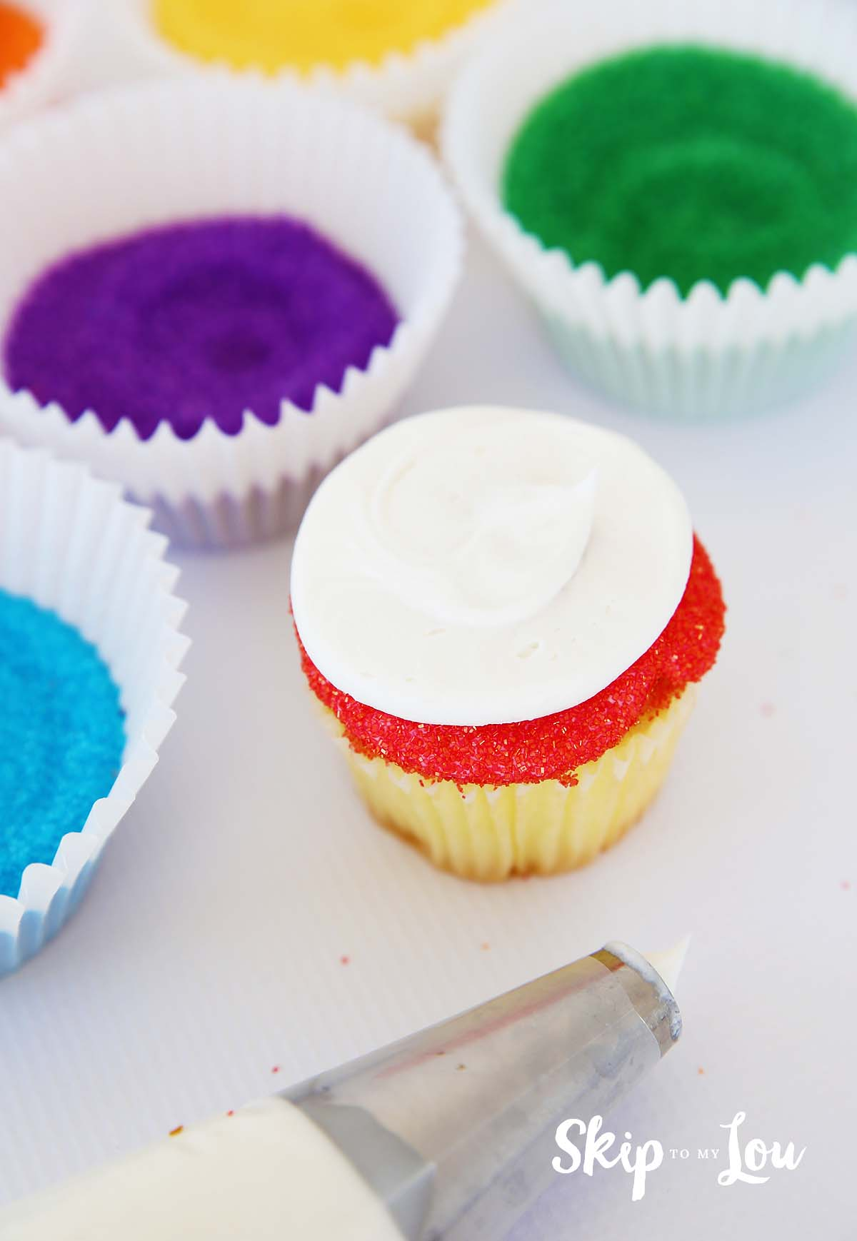 rainbow cupcakes with sanding sugar how to