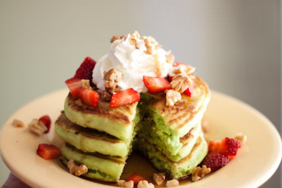stawberry green pancakes