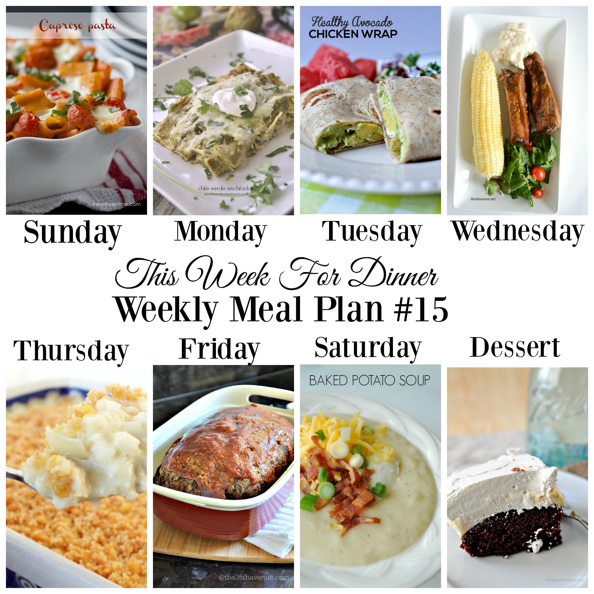 dinner planner for the week