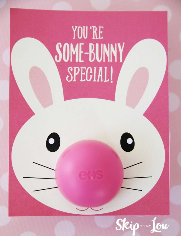 """bunny eos lip balm gift with """"you're some-bunny special! written on it"""