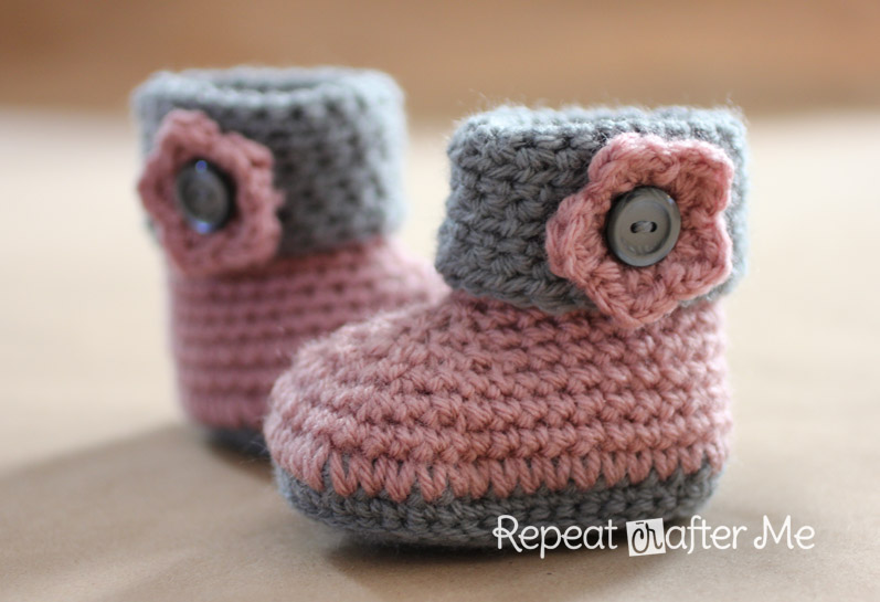 Cuffed crochet booties