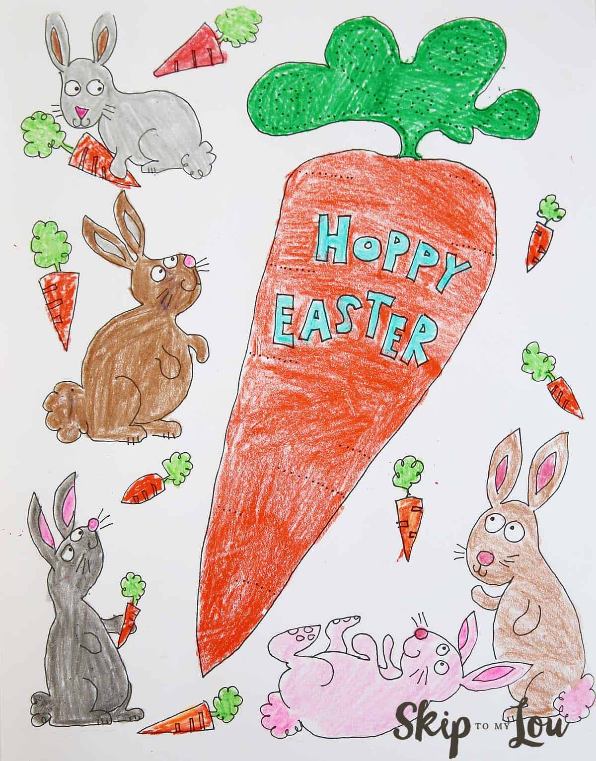 Bunnies Coloring Page for Easter | Skip To My Lou