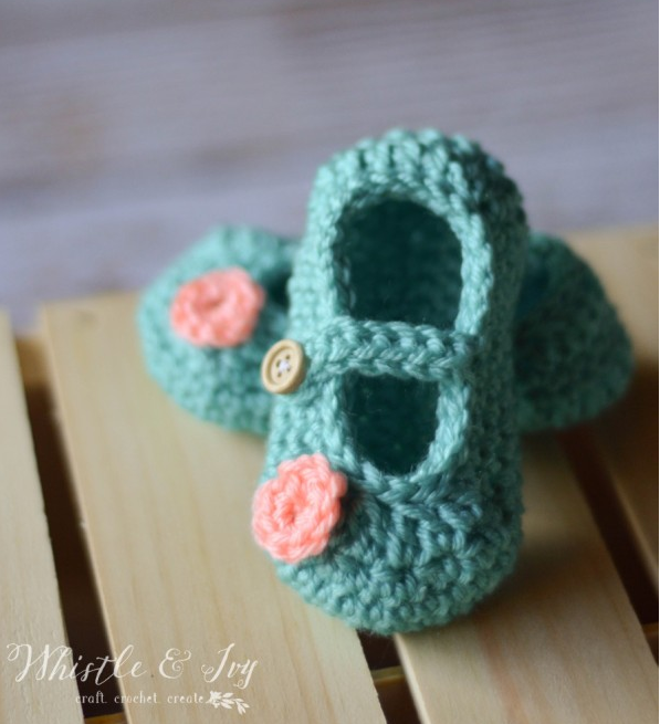 Mint Green Crochet Baby Booties With Tiny Pink Flower