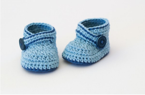 blue whale baby booties