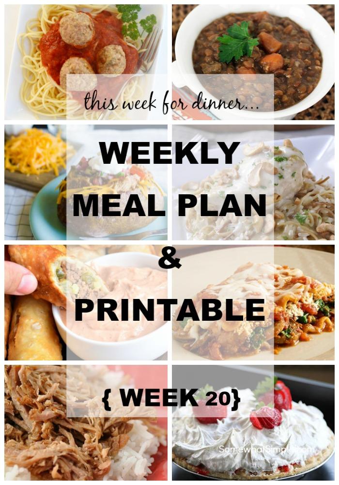 Weekly Menu Plan - Week 20