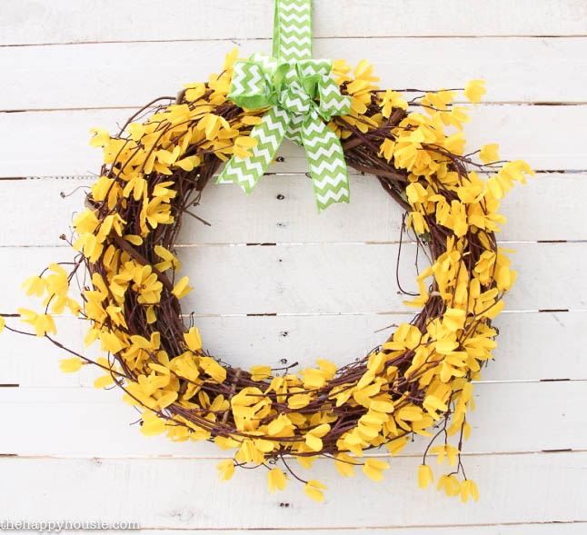 Five Minute Dollar Store Spring Forsythia Wreath at the happy housie-7