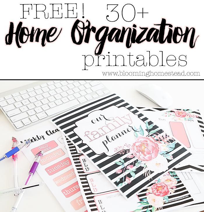 Free organizational printables