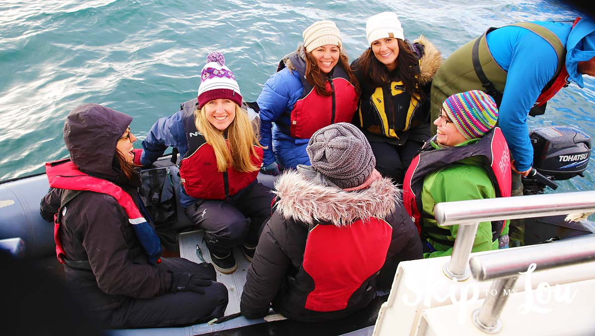 Iceland Rachael Mique Amy in boat