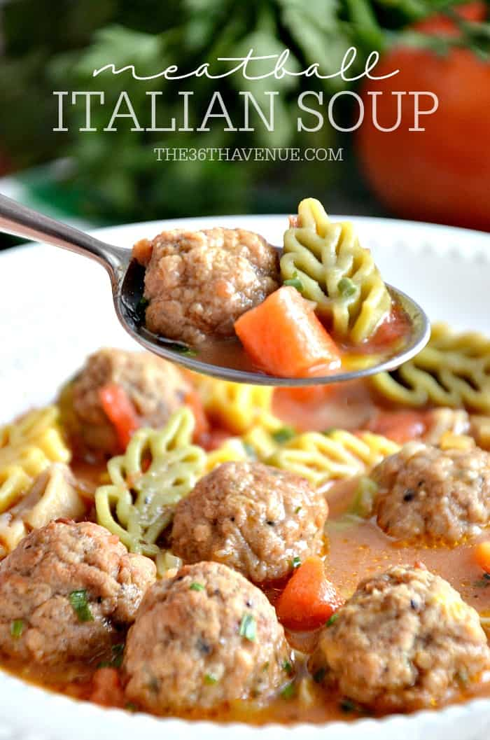 Meatball Italian Soup Recipe - This delicious One Pot Soup is super easy to make and ready in 30 minutes or less! I love easy recipes! PIN IT NOW and make it later!
