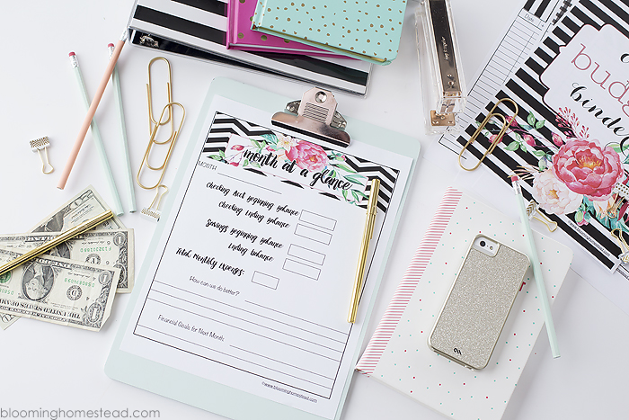 Month at a glance budget printables at Blooming Homestead copy