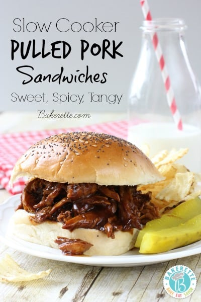 This Slow Cooker Pulled Pork is slow cooked in a sweet and spicy sauce that really tenderizes the pork and gives it such a tangy flavor.
